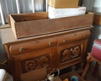 Bottom of ornate oak buffet - server