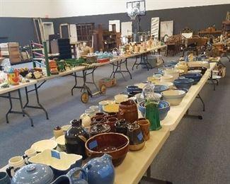 Crocks, toys, pottery
