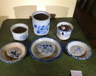 Eldreth Pottery Crock and Plates