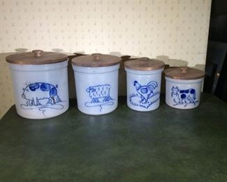 Four Eldreth Pottery Canisters with lids