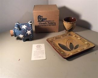 Three Eldreth Pottery Pieces One in box