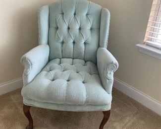 Powder blue tufted arm chair