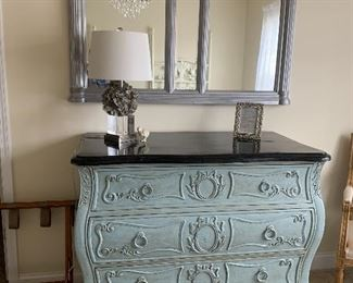 Chest by Drexel Heritage - Covington Park Collection...custom painted pale blue---Gorgeous with all the carved detail