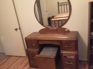 Vintage waterfall vanity with bench stool. 85 years old.
