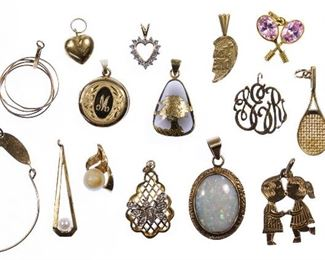 14k Gold Pendant and Charm Assortment
