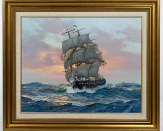Charles Vickery American 1913 1998 The U.S.S Constitution Oil on Canvas
