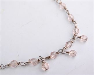 14 925 Sterling Silver Pink Beaded Necklace