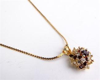 GoldColored Necklace w Floral Pendant
