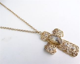 Large, GoldColored Cross Pendant Necklace on Chain