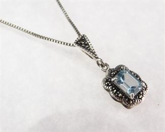 Silver Blue Topaz Pendant Necklace