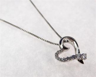 Silver CZ Open Heart Pendant Necklace