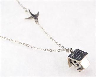 Silver Flying Bird Birdhouse Pendant Necklace