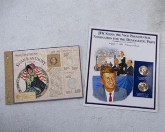 JFK Half Dollar Set and Susan B Anthony Silver Dollar Coin