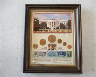 Framed Presidential Coin & Stamp Collection