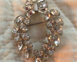 Sterling silver brooch with rhinestones