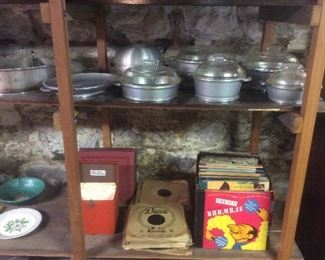 Vintage cookware. Vintage 45 records. Children's songs