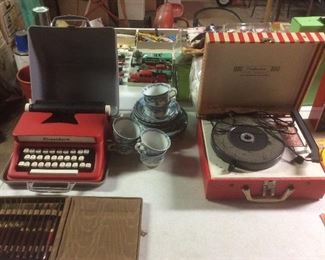 Vintage record player. And typewriter