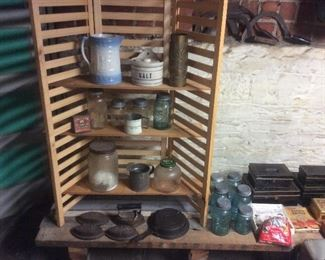 Salt glaze ware,tin bank boxes. Jars ,Irons,