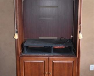Interior of entertainment cabinet