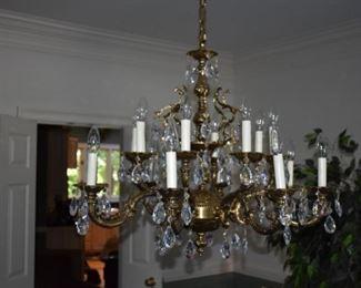 Austrian crystal chandelier  - solid brass