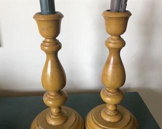 Vintage mustard painted candlestick holders