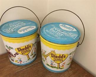 Vintage Shedds peanut butter tins