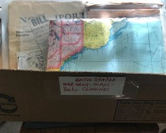 Vintage maps and antique local newspaper clippings