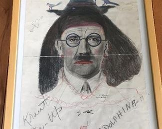 Hitler print taken from Austrian Nazi Headquarters and signed by American soldiers at the end of WW II.