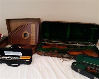 Antique Violins and Zither Vintage  instruments