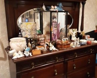 Large Antique Dresser w/ Mirror Lot of Asian Items