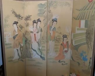 Beautiful Antique Japanese Folding Silk Screen 6' x 6'