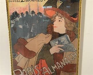 Framed Paris Almanach vintage poster