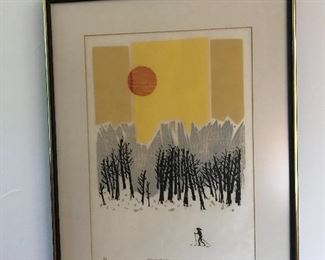 Cross Country Solo by Morton Garchik           Original Woodcut