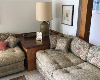 2 matching low slung sofas