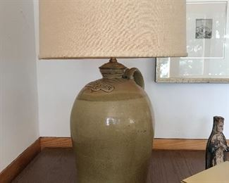 Antique stoneware lamp