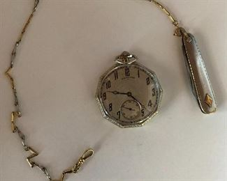 Antique Hamilton17 jewel 14K gold filled pocket watch with platinum and gold chain and platinum and gold pocketknife