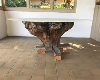 Cedar tree trunk- base of patio table