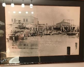 Leland Light and Power dam- framed photo reprint