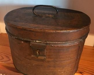 Antique metal hat box