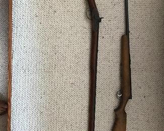 Aston 1851 muzzleloader original condition, stock butt repair and Stevens 22 bolt rifle