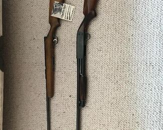 Stevens 22 bolt rifle and Ithaca pump shotgun, model 37