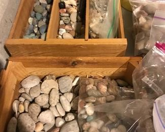 Petoskey stones and Leland blue stones