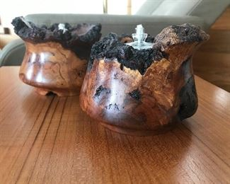 Otto Weber Cherry Burl oil lamps