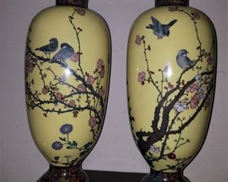 Pair of Antique Chinese Cloisonne tall vases