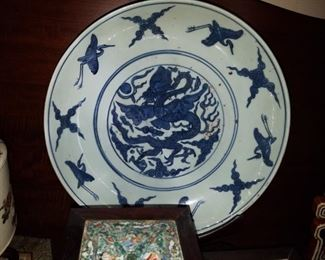 Ming Dynasty Porcelain Charger, large size
