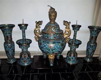 Antique Chinese Cloisonne 5 piece Garniture set
