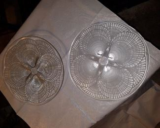 Pair. Lalique large chargers. Signed
