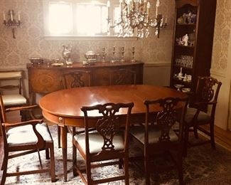 Fine Dining Room Set. Inlaid Sideboard