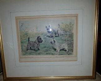 "Marguerite Kirmse colored etching titled ""Three is a crowd"""