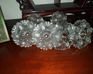 Set of six antique glass curtain tie backs, possibly Sandwich